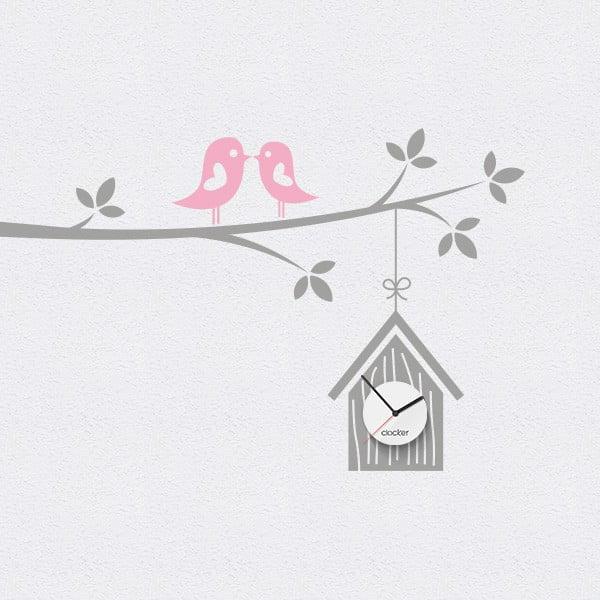 Hodiny se samolepkou Birdhouse, šedá