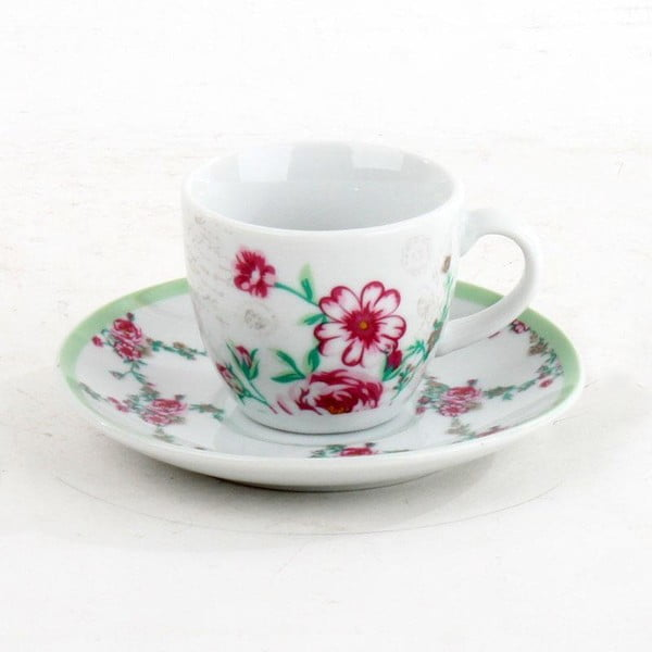 Porcelánová sada hrníčků na kávu Roses, 6 ks, green/pink