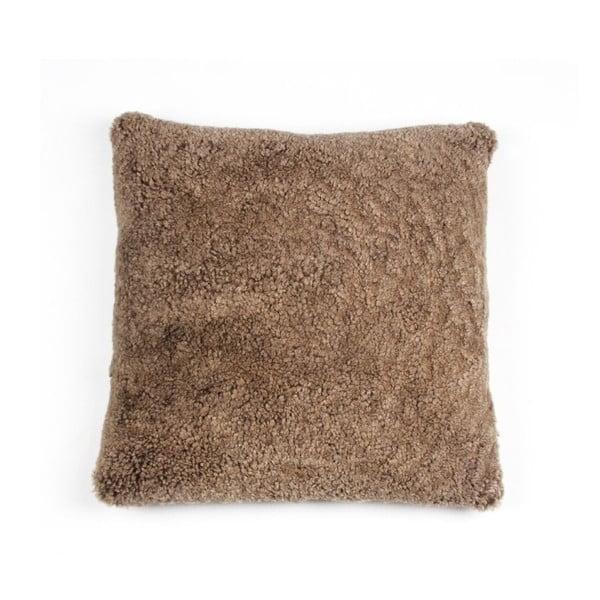 Kožešinový polštář Curly Brown, 35x35 cm