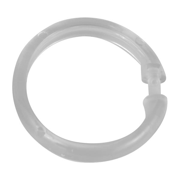 Sada 12 kusů průhledných plastových kroužků nasprchový závěs Wenko