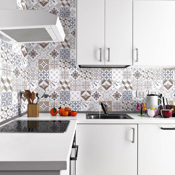Set 24 autocolante de perete Ambiance Traditional Beige Tiles, 20 x 20 cm