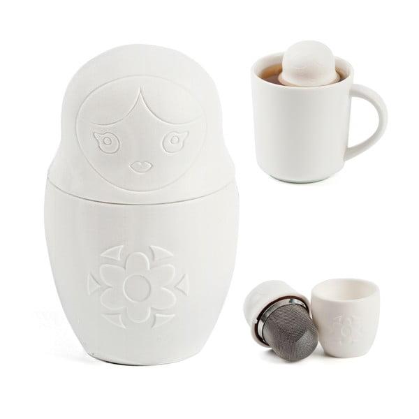 Sítko na čaj Matryoshka, bílé