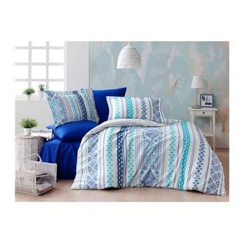 Lenjerie cu cearșaf din bumbac ranforce pentru pat dublu Zaur Blue, 160 x 220 cm de la Unknown
