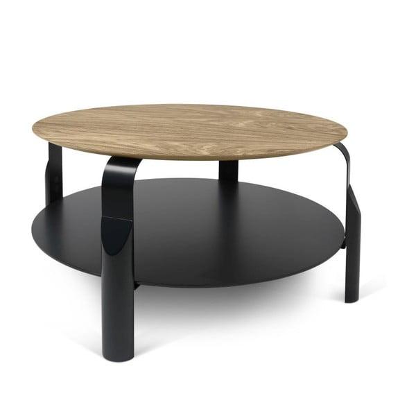 Černý konferenční stolek s deskou v dekoru ořechového dřeva TemaHome Scale
