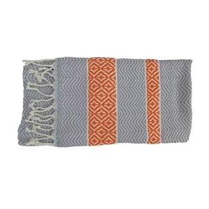 Prosop țesut manual din bumbac premium Basak, 100 x 80 cm, portocaliu - gri