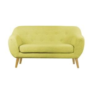 Žlutá dvoumístná pohovka s hnědými nohami Scandizen Lola