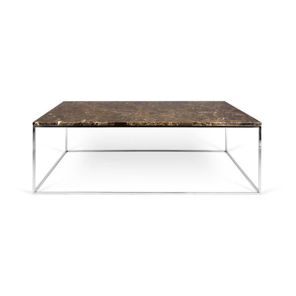 Hnědý mramorový konferenční stolek s chromovými nohami TemaHome Gleam, 75 x 120 cm