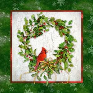 Balení 10 papírových ubrousků s vánočním motivem PPD Holly & Cardinal