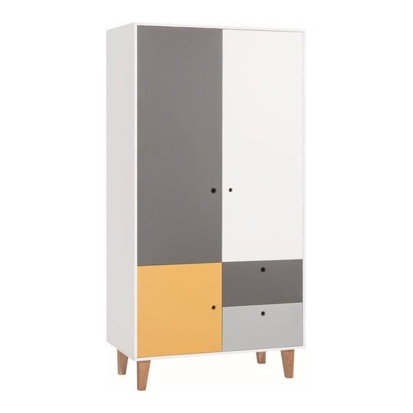 Bílošedá dvoudveřová šatní skříň se žlutým detailem Vox Concept
