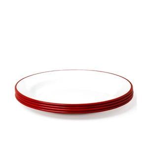 Sada 4 červeno-bílých smaltovaných talířů Falcon Enamelware