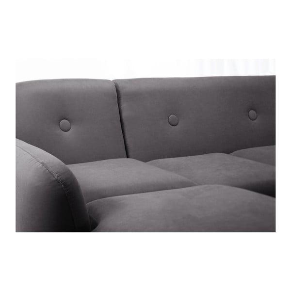 Tmavě šedá pohovka Stella s lenoškou na levé straně