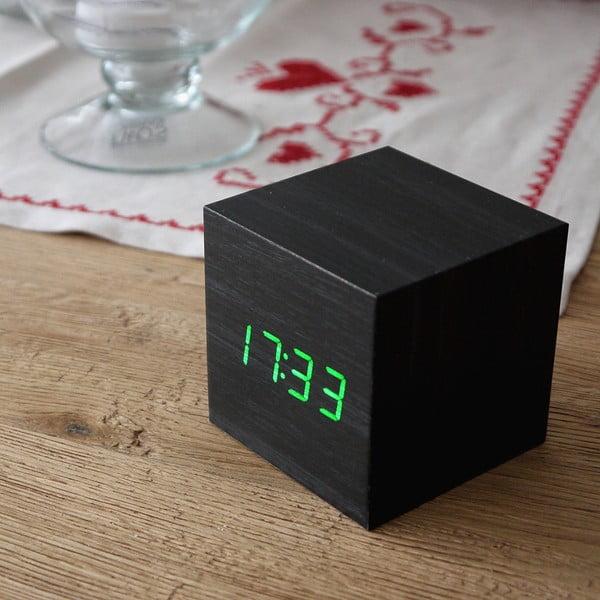 Zelený LED budík Cube Click Clock, černý