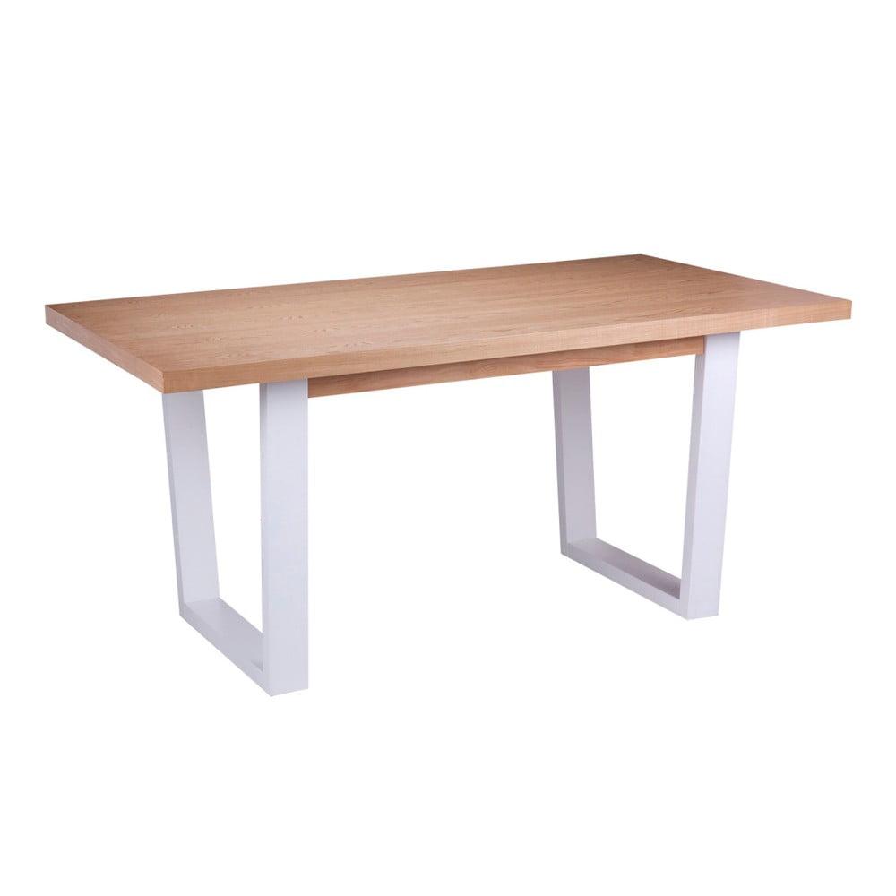Jídelní stůl v dekoru dubového dřeva s bílými nohami sømcasa Amber, 160 x 90 cm
