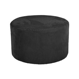 Černý manšestrový puf Leitmotiv Glam, 50 x 30 cm