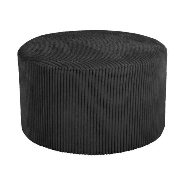 Puf din catifea raiată Leitmotiv Glam, 50 x 30 cm, negru