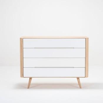 Comodă cu sertare din lemn de stejar Gazzda Ena Two, 120 x 42 x 90 cm de la Gazzda