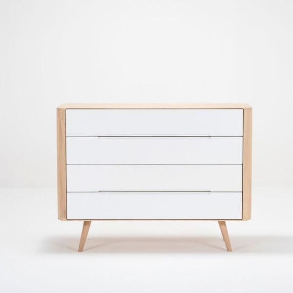 Comodă cu sertare din lemn de stejar Gazzda Ena Two, 120 x 42 x 90 cm