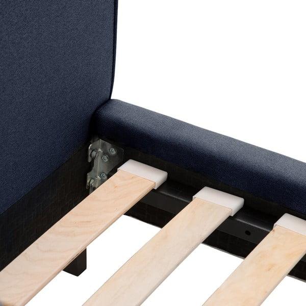 Modrá postel s černými nohami Vivonita Kent,180x200cm
