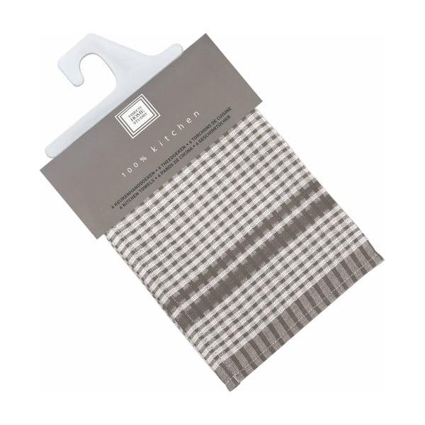 Sada 6 šedých bavlněných utěrek Tiseco Home Studio Cristal, 50 x 70 cm