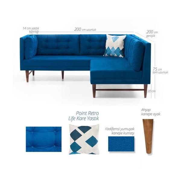 Modrá rohová pohovka Balcab Home Barbara