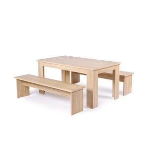 Set masă și 2 bănci cu aspect de lemn Intertrade Munich, 80 x 140 cm
