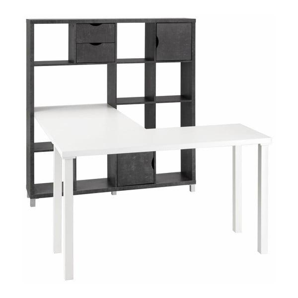 Biely pracovný stôl s čiernou knižnicou Støraa Kiera