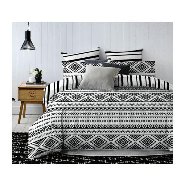 Černo-bílé oboustranné povlečení na jednolůžko z mikrovlákna DecoKing Hypnosis Oslo, 220 x 155 cm