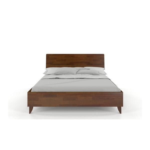 Pat dublu din lemn masiv de pin SKANDICA Viveca Dark, 200 x 200 cm