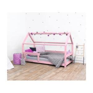 Růžová dětská postel s bočnicemi ze smrkového dřeva Benlemi Tery, 90 x 190 cm