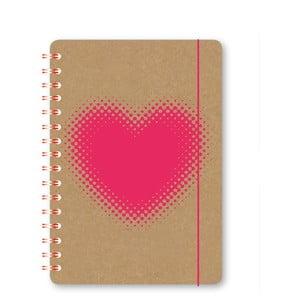 Zápisník A5 s kroužkovou vazbou GO Stationery Hearts