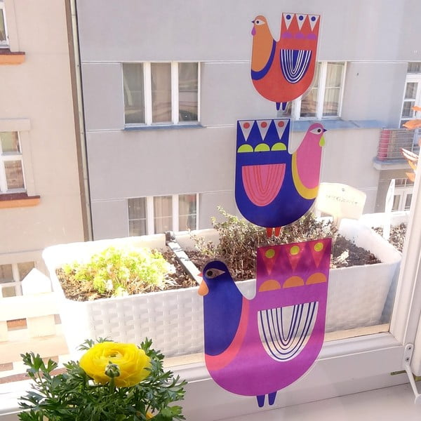 Přelepovací samolepka Slípka nad slípkou a tulipánky