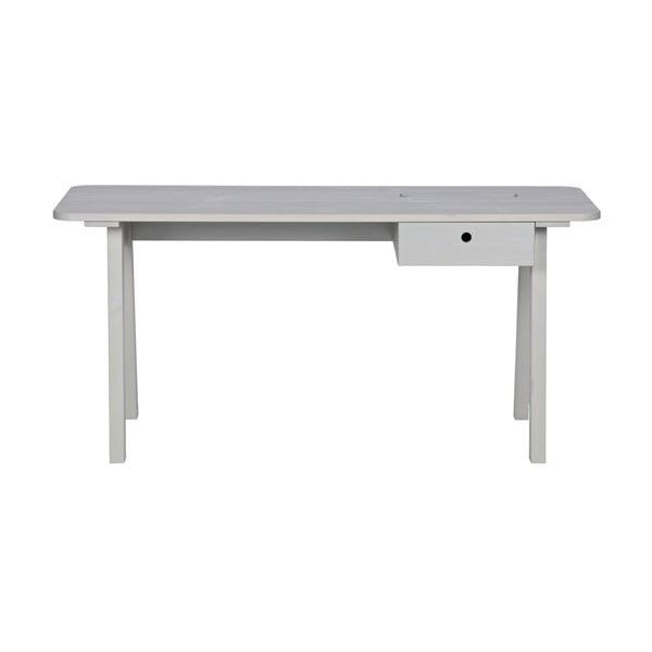 Biely pracovný stôl z borovicového dreva WOOOD Sammie