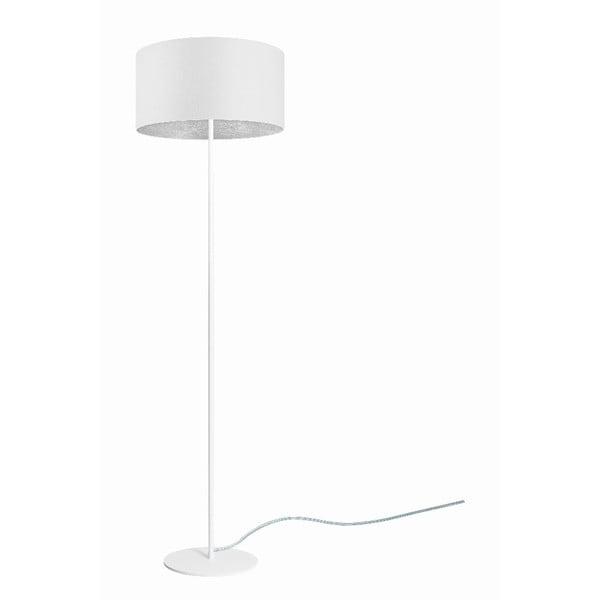 Bílá stojací lampa sdetailem vestříbrné barvě Sotto Luce Mika, ⌀40 cm