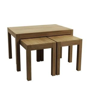 Sada 3 odkládacích stolků z dubového dřeva Fornestas Sims