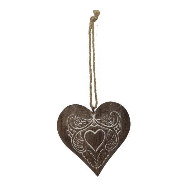 Dřevěná závěsná dekorace ve tvaru srdce Antic Line Julie
