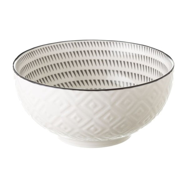 Šedo-bílá porcelánová miska Unimasa Signal,ø14,9cm