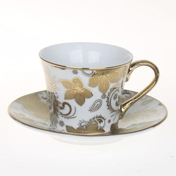 Set hrnků Coffee Gold Flowers, 6 ks