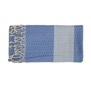 Prosop țesut manual din bumbac premium Damla, 100 x 80 cm, albastru