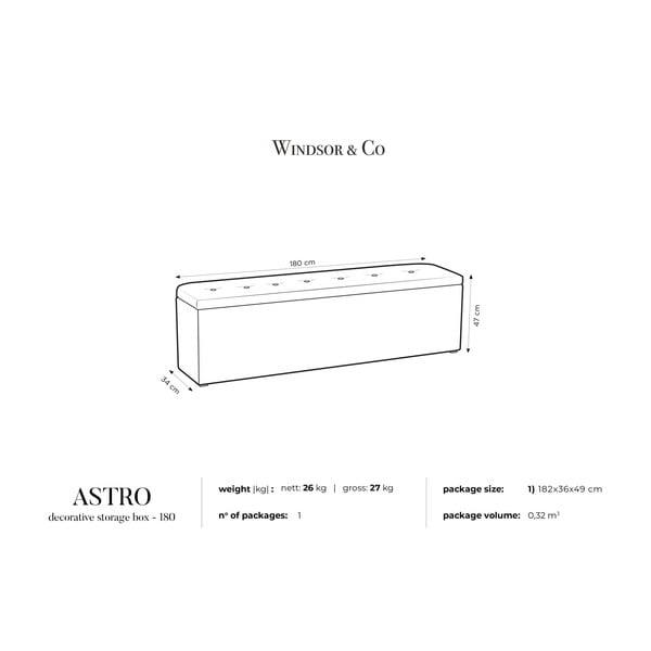 Fialový otoman s úložným prostorem Windsor & Co Sofas Astro, 180 x 47 cm