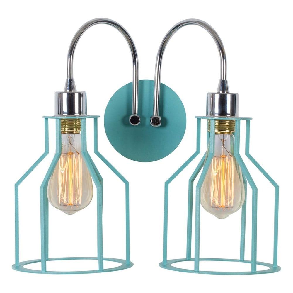 Bledě modrá nástěnná lampa Double Cage Drop