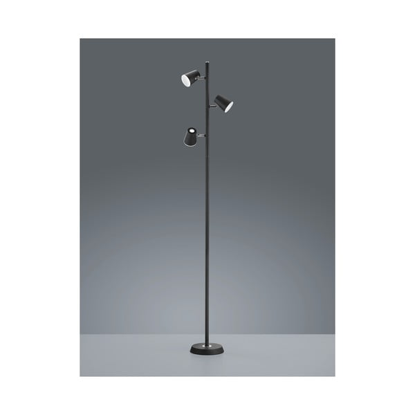 Černá stojací LED lampa Trio Narcos, výška 1,54 m