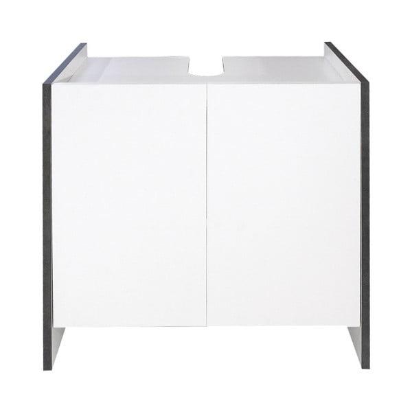 Bílá koupelnová skříňka s šedým korpusem Symbiosis Auben,výška59,2cm