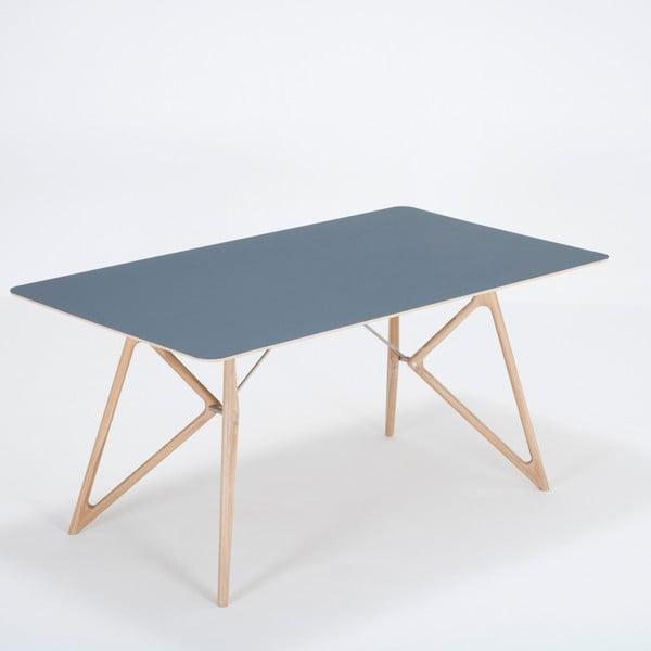 Jídelní stůl z masivního dubového dřeva s tmavě modrou deskou Gazzda Tink, 160x90cm