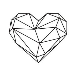 Černá nástěnná kovová dekorace Wall Decor Heart