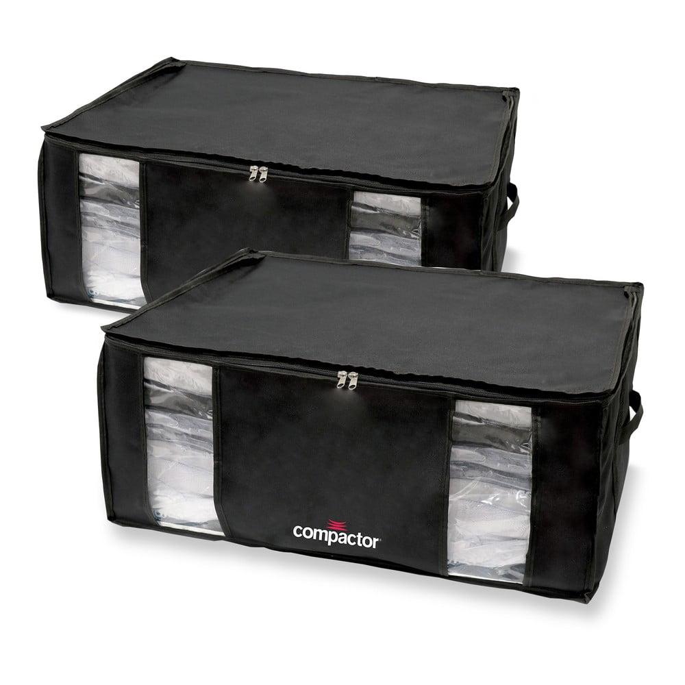 Sada 2 černých úložných boxů s vakuovým obalem Compactor Black Edition XXL, 50 x 26,5 cm
