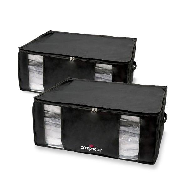 Sada 2 čiernych úložných boxov s vakuovým obalom Compactor Black Edition XXL, 50 x 26,5 cm