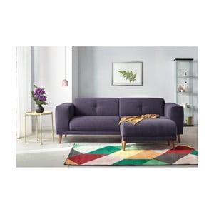Canapea cu 3 locuri și suport pentru picioare Bobochic Paris Luna, mov deschis