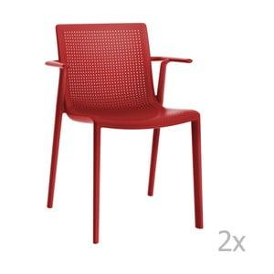 Sada 2 červených  zahradních židlí s područkami Resol Beekat