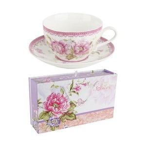 Porcelánová sada hrníčků na čaj v dárkové krabičce Roses, 6 ks