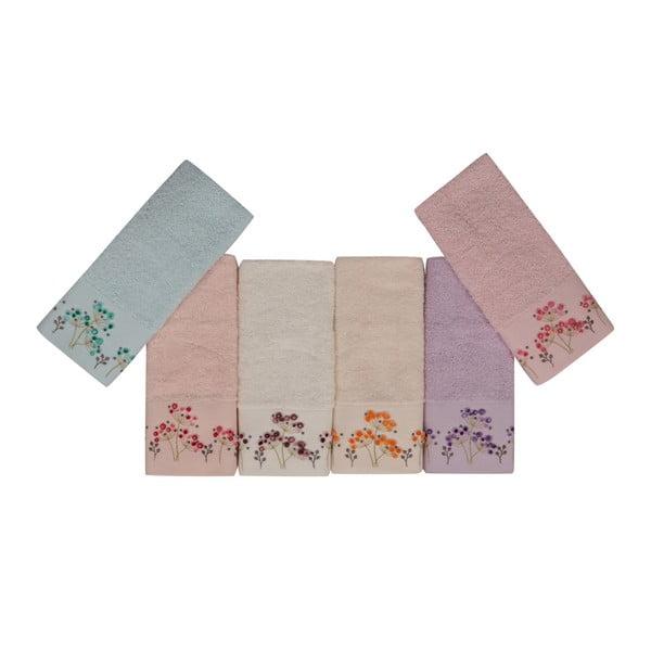 Sada 6 barevných ručníků z čisté bavlny Drew, 30 x 50 cm